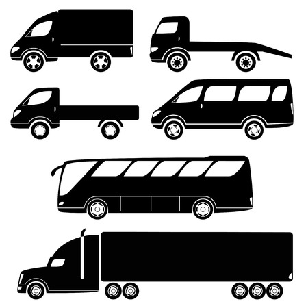 Cars silhouettes vector collection - van, open lorry, wrecker, minibus, truck, bus