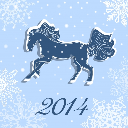 Year of the Blue Horse  Christmas and New Year vector card Vector