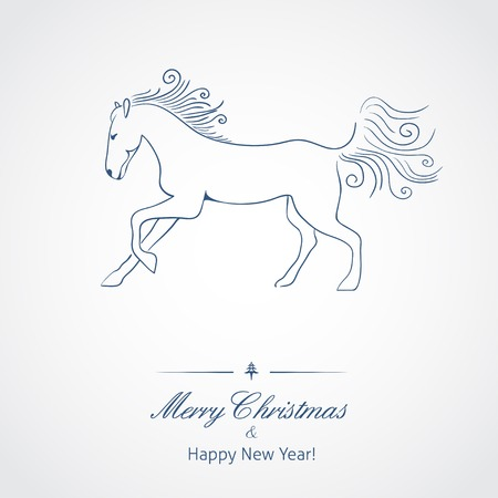 A Horse - symbol of new 2014 year  Vector illustration