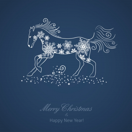 Year of the Horse  Christmas and New Year vector card Vector