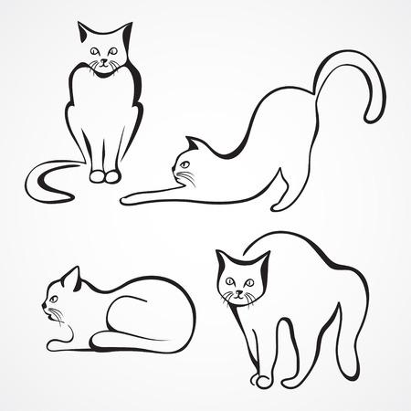 Рисованные сидячие кошки