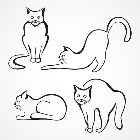 round: Collection of various cat silhouettes. Sitting cat, lying cat, stretching cat and one cat with round back