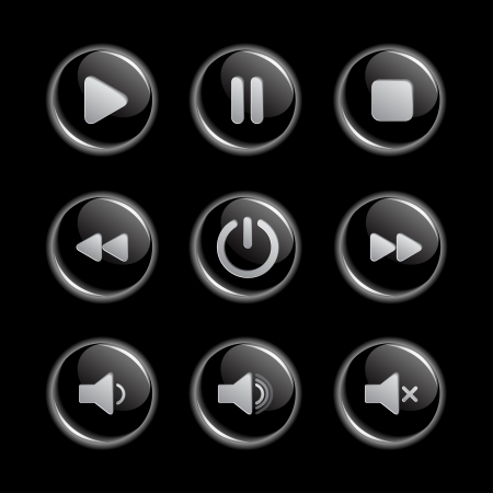 Media player glassy buttons collection Illustration