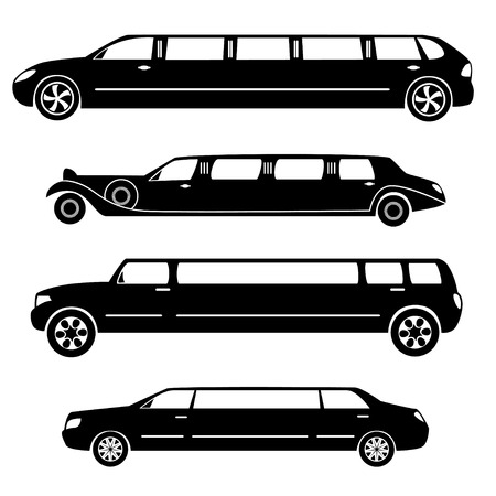 Limousines silhouettes vector collection