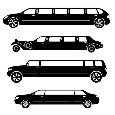 limousine: Limousines silhouettes vector collection