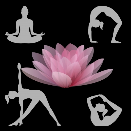 Lotus flower and some yoga positions vector illustration Vector