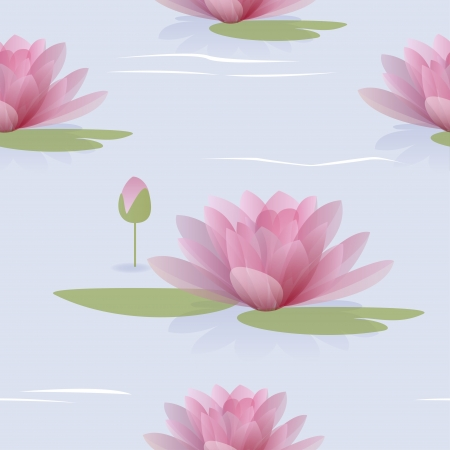 Waterlilies on a blue water seamless pattern  Vector illustration Vector