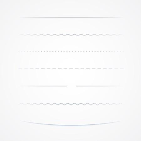 Set Trennstege, auf weißem Hintergrund, Vektor-Illustration