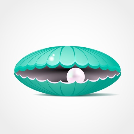 Blue shell with a pearl inside vector illustration