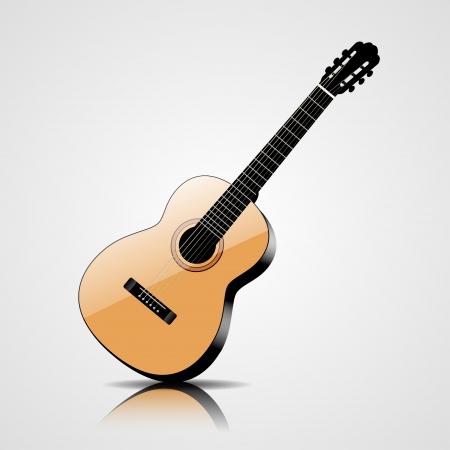 guitarra acustica: Ilustración vectorial Guitarra clásica aisladas sobre fondo blanco