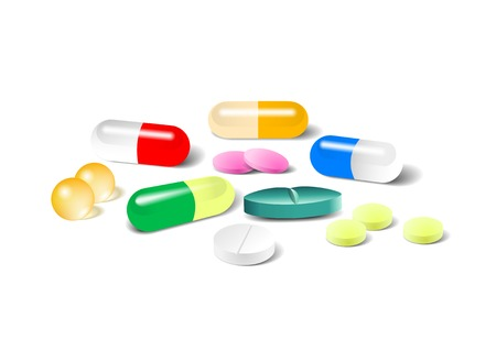 Different vector pills, tablet and capsule isolated on a white background