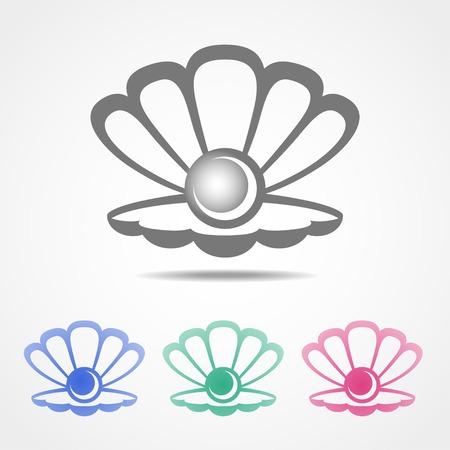 perlas: Vector icono de concha con una perla en el interior en diferentes colores