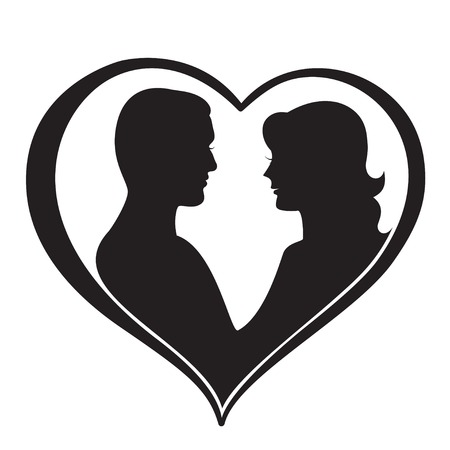 wedding couple: Man and Woman Silhouette in Heart Shape. Vector illustration