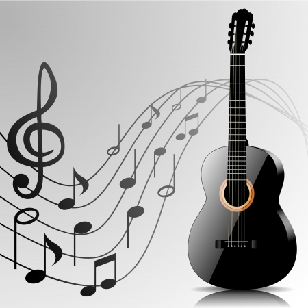 Abstract music background with black guitar and notes