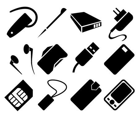 Accesorios para teléfonos móviles Icon Set Ilustración de vector