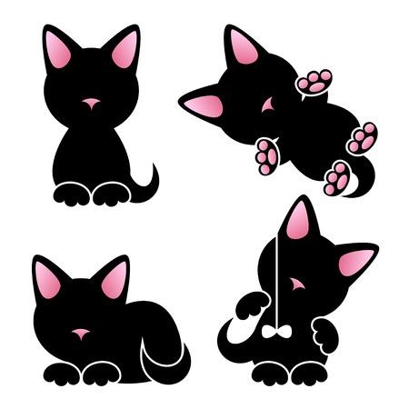 추상 귀여운 새끼 고양이 벡터 설정