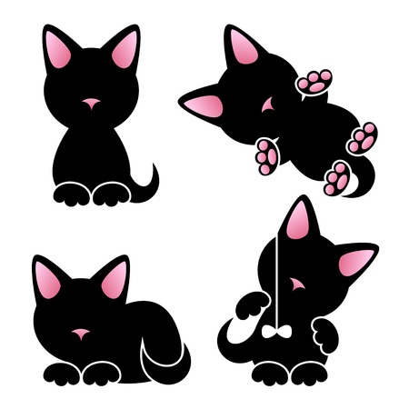 cat stretching: Abstract cute kitten vector set