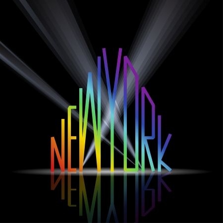 New York word in shape of the city on a black background Vector