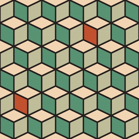 Abstract seamless pattern with cubes in retro color. Vector illustration Vector