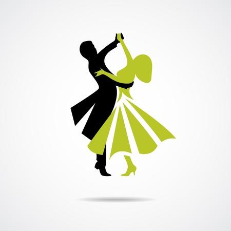 白い背景で隔離のカップルのダンスのシルエット