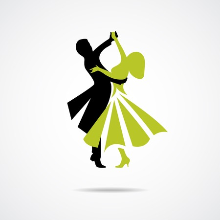 dancing couple: Silhouette of dancing couple isolated on a white background