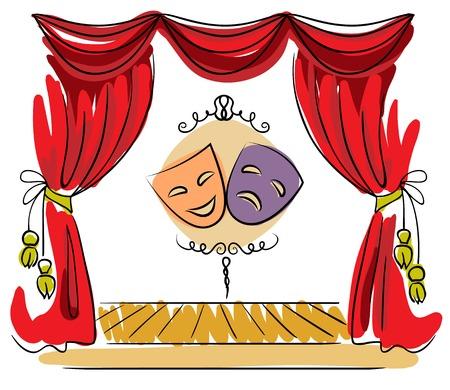 Fase del teatro con la tenda rossa e l'illustrazione delle maschere Archivio Fotografico - 26000116