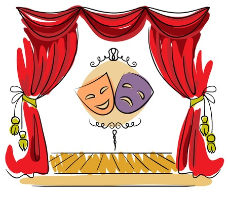 tragedy mask: Theater stage with red curtain and masks illustration