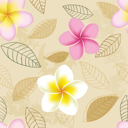 frangipani flower: Abstract seamless pattern with plumeria flowers