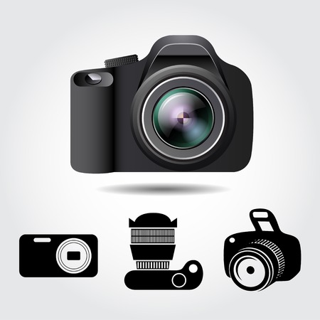 optical image: Camera on a white background with some camera icons. Vector collection