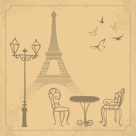 caf�: Paesaggio Parigi su vintage sfondo illustrazione Vettoriali