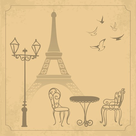 chairs: Paris landscape on vintage background illustration