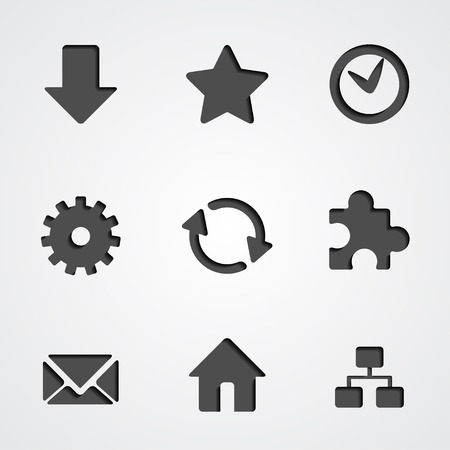 Popular internet vector icon set with inner shadow Stock Vector - 26698273