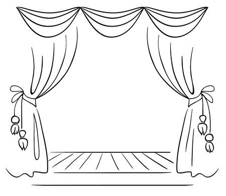 劇場の段階のベクトルのスケッチ