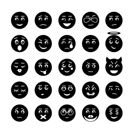 angry angel: Smiley faces icon collection. Vector illustration of 25 signs Illustration