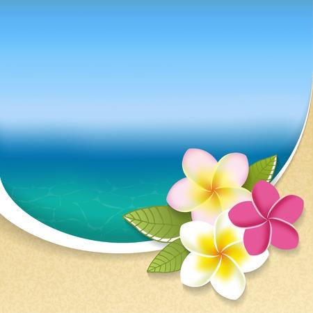 해변보기 배경에 플루 메리아 꽃입니다. 벡터 일러스트 레이 션