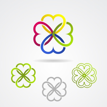 Clover leaf vector icon set for bio and organic products