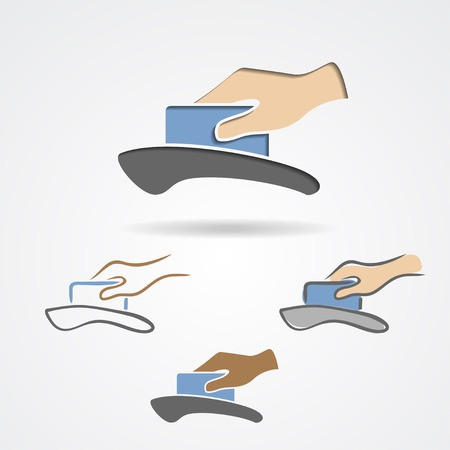 Plastic card in hand inserting in credit card machine. Vector illustration Illustration