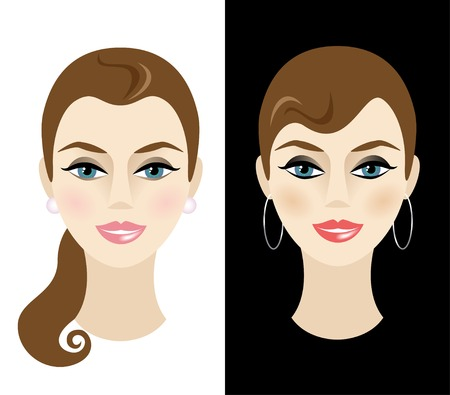 blush: Young woman with daytime and nighttime makeup. Vector illustration