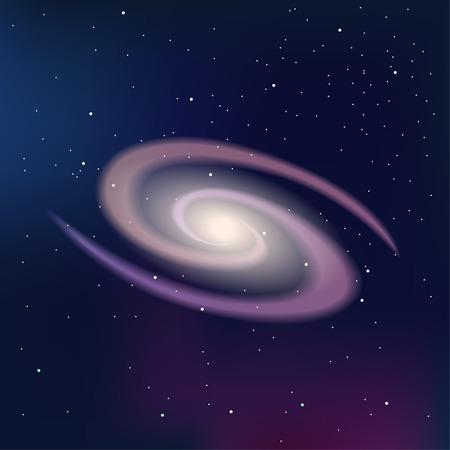 Galaxy op een donkere nacht sterrenhemel. Vector Illustratie