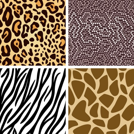 Zebra, leopard, snake, giraffe skin seamless pattern collection 向量圖像