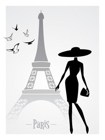 Dame à la mode en face de la Tour Eiffel carte de vecteur