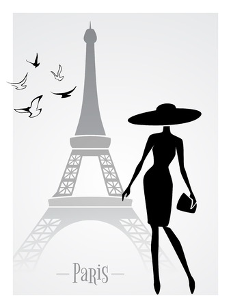 eiffel tower: Fashionable lady in front of Eiffel Tower vector card