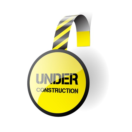 advertising construction: Under construction - vector wobbler isolated on a white background