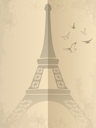 Vintage card with Eiffel Tower. Vector illustration Vector