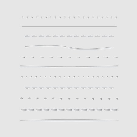 Set of dividers, isolated on gray background. Vector illustration Vector