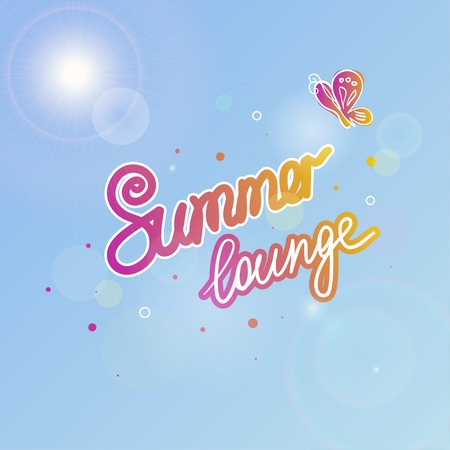 summer sky: Summer sky vector illustration with the sun, butterfly and text