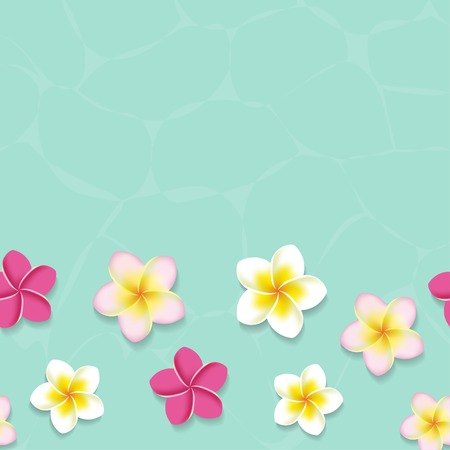 水で熱帯のプルメリアのお花。シームレスなベクトル図