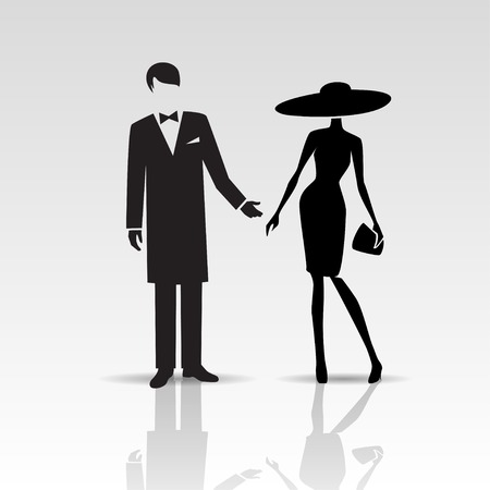 hombre con sombrero: Vector siluetas de dama y caballero aislado en un fondo blanco Vectores