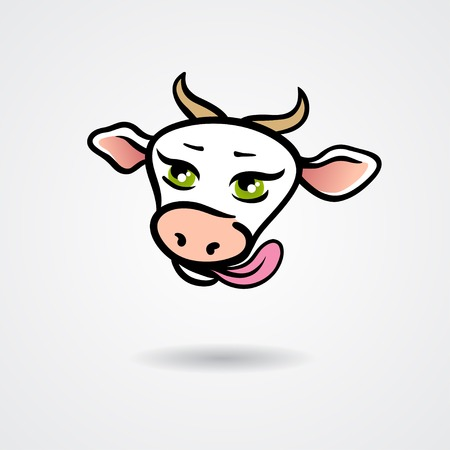 cow vector: Head of licking cow isolated on a white background. Vector illustration Illustration