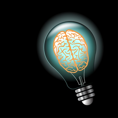 Luminous idea light bulb with brain inside. Vector illustration Vector